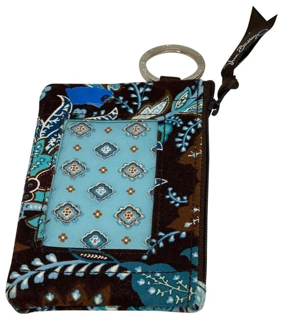 Item - Key Ring Credit Card Pouch Brown/Blue Cotton Wristlet