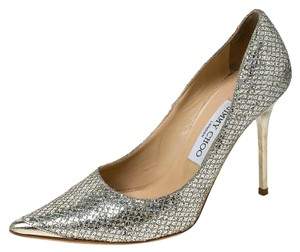 Jimmy Choo Lamè Glitter Pointed Toe Leather Gold Pumps
