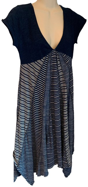 Item - Navy Blue and White Striped Midi Mid-length Short Casual Dress Size 4 (S)