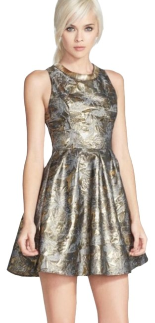 Item - Gold Embellished Jacquard Fit & Flare Short Night Out Dress Size 8 (M)