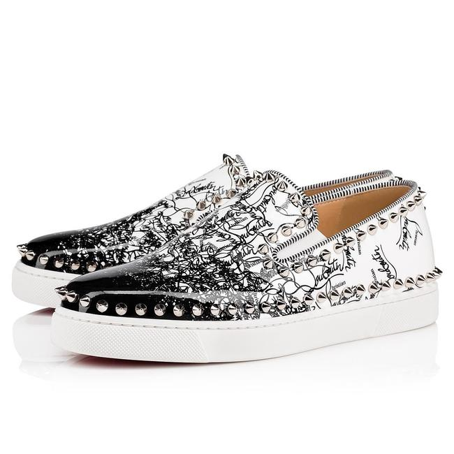 Item - Black Pik Boat Degraloubi White Patent Spike Flat Slip Sneakers Size EU 36 (Approx. US 6) Regular (M, B)