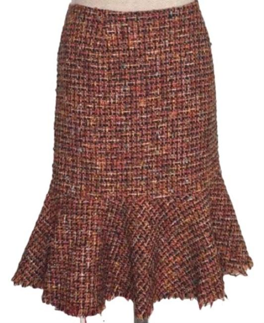 Item - Brown Ruffle Hem Pencil Red Tweed Skirt Size 4 (S, 27)