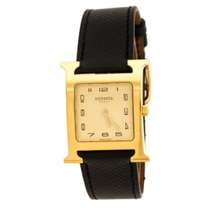 Hermès Yellow Gold Plated Stainless Steel Heure H Women's Wristwatch 26 mm