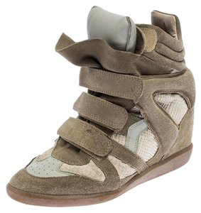 Isabel Marant Leather Suede Wedge Beige Athletic