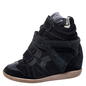 Isabel Marant Leather Rubber Suede Wedge Black Athletic