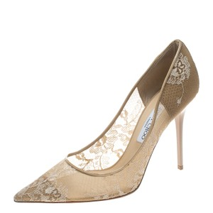 Jimmy Choo Patent Leather Pointed Toe Beige Pumps