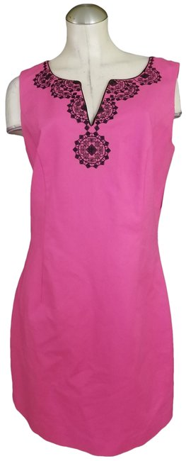 Item - Pink Black Embroidery At Top Mid-length Work/Office Dress Size 12 (L)