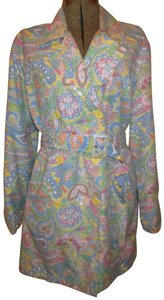 Izod Belted Double Breasted Paisley Onm001 Trench Coat