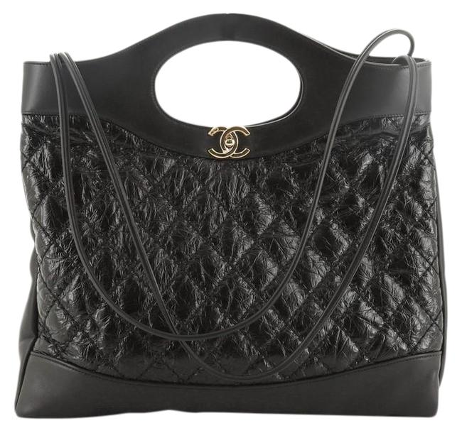Item - Shopping Bag 31 Glazed Quilted Aged Calfskin Large Black Leather Tote