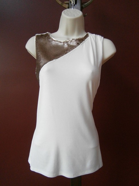 Jennifer Lopez Off White Cream Bronze Sequins Sexy Sleeveless Cut-out Rayon/Spandex Excellent Condition T Shirt Ivory