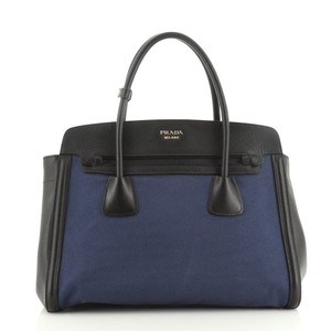 Prada Canvas Leather Tote in Black, Blue, Multicolor