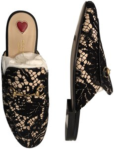 Gucci Princetown Loafers Mules Lace Cream and Black Flats