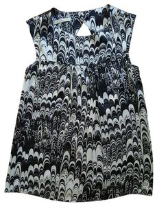 Weston Wear Silk Anthropologie Marble Sleeveless Blouse Top Black and White