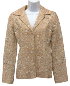 Biya Embroidered Jacket Tan With Multicolored Embroidery Blazer