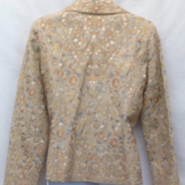 Biya Jacket Tan With Multicolored Embroidery Blazer