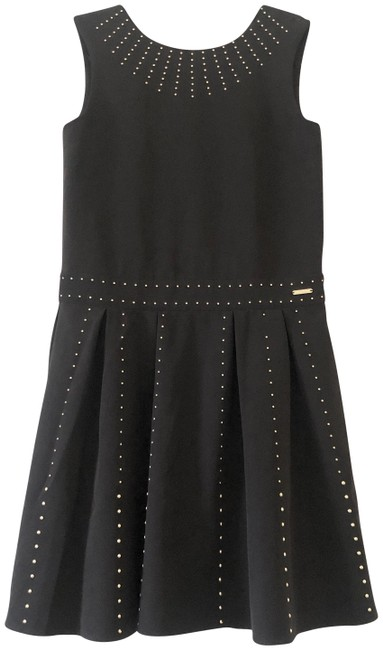 Item - Black Gold Studded Pleated Mid-length Night Out Dress Size 12 (L)