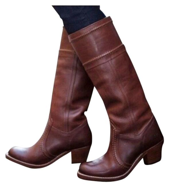 Item - Red Brown Jane Redwood Leather Stitch Boots/Booties Size US 6 Regular (M, B)