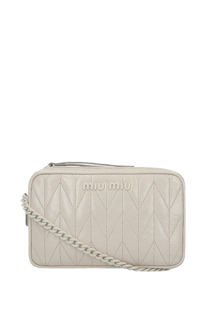 Item - Quilted Bandoleer White Leather Cross Body Bag