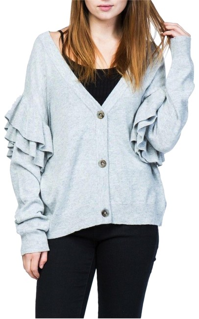 Item - Grey Ruffle Tiered Sleeves V Neck Button Lightweight Sweater S Cardigan Size 6 (S)