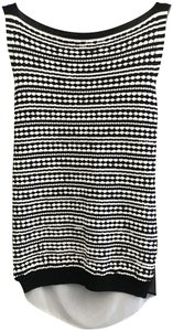 D. EXTERIOR Stretch Sheer Italy Knit Sleeveless Top Black, White