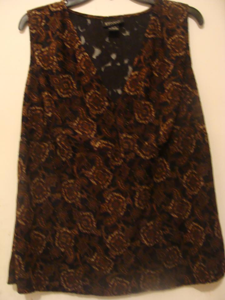6019a700988 Lane Bryant Sleeveless Black Brown Top - Tradesy