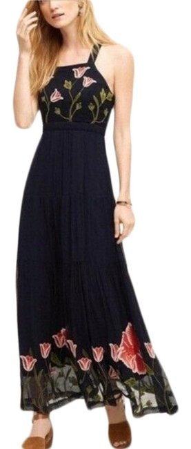 Item - Navy Tulipan Embroidered Long Casual Maxi Dress Size 4 (S)