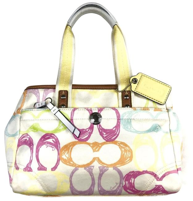 Item - Scribble Soft Shell White Multi-color Small Canvas Satchel