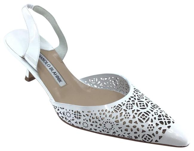 Item - White Patent Leather Lazer Cut Sling Back Pumps Size US 8.5 Regular (M, B)