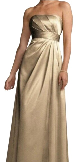 Item - Champagne Gold Strapless Gown Long Formal Dress Size 2 (XS)