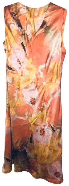 Item - Orange and Pink Watercolor Lined with Slip Mid-length Short Casual Dress Size 6 (S)
