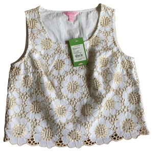 Lilly Pulitzer Crop Metallic Luxury Top White/Gold