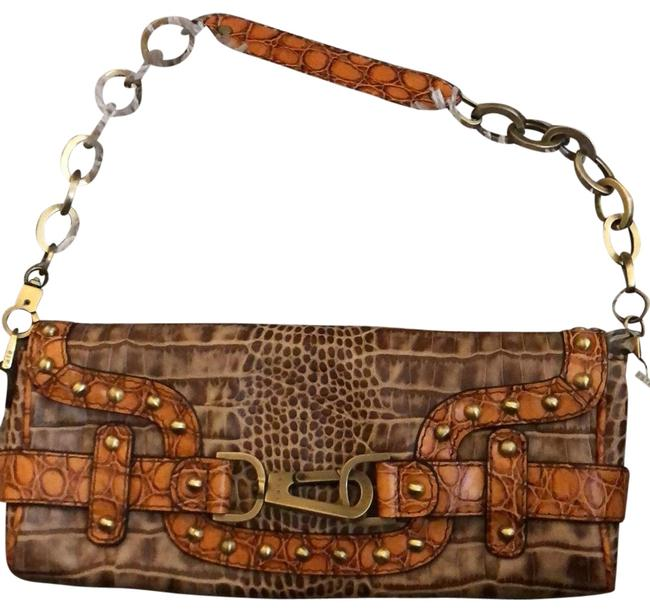 Item - Shoulder Or Brown (Chocolate) Orangey Brown and Gold/Brass Leather with Emblishments Nailheads Chain Hooks Clutch