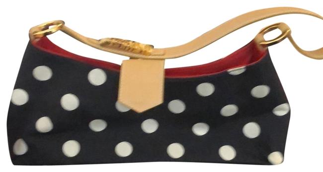 Item - Black and White and Tan Handles with Red Lining Material Leather Gold Baguette