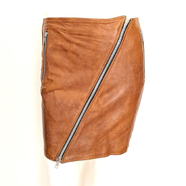 Item - Camel Brown Leather Zip Front Skirt Size 6 (S, 28)