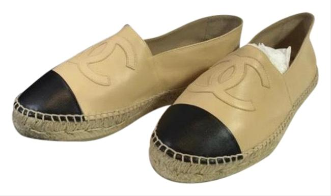 Item - Black & Beige Leather Double Sole Espadrille Flat Sneakers Size US 12 Regular (M, B)