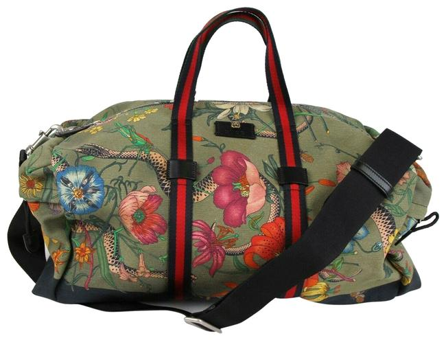 Item - Duffle Floral with Removable Strap 450983 3775 Green Canvas Weekend/Travel Bag
