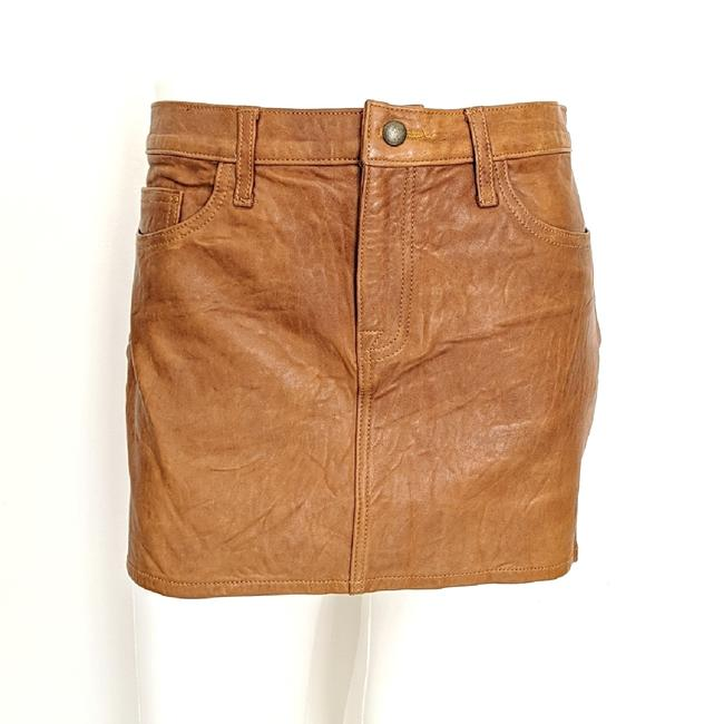 Item - Camel Brown Leather Skirt Size 4 (S, 27)