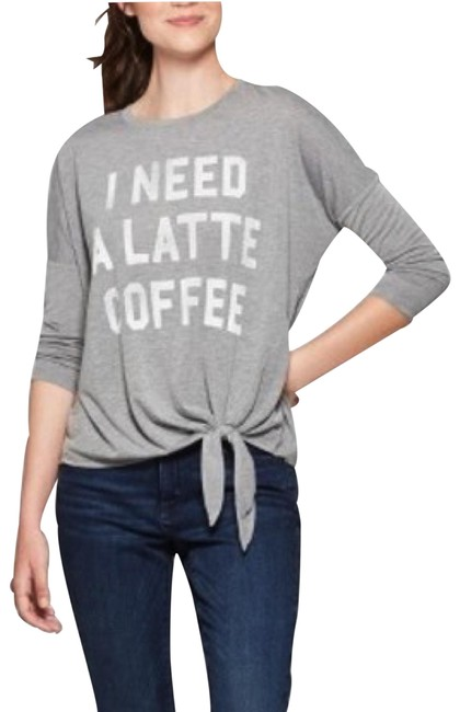 """Item - Grey """"I Need A Latte Coffee"""" Graphic Dolman 3/4 Sleeves Tee Shirt Size 14 (L)"""