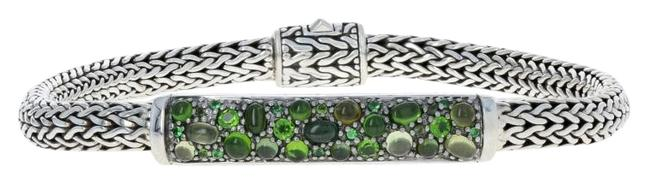 Item - Sterling Silver New Classic Chain Station Green Tourmaline E8026 Bracelet