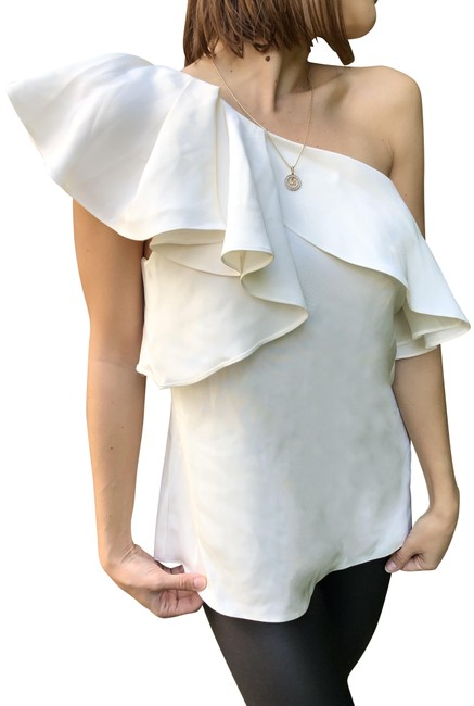 Item - White One Shoulder Sleeve Silk Blouse Size 10 (M)