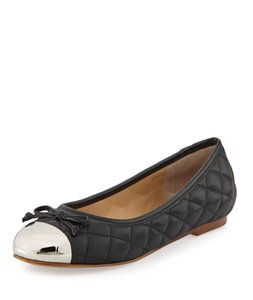 Andrew stevens Ballet Quilted black silver Flats