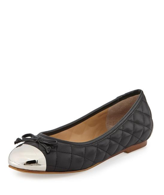 Item - Black Silver Lalo Quilted Meatllic Cap Toe Ballet Flats Size US 8 Regular (M, B)