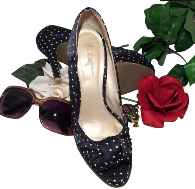 Item - Navy/White Polka-dots Pumps Size US 7 Regular (M, B)