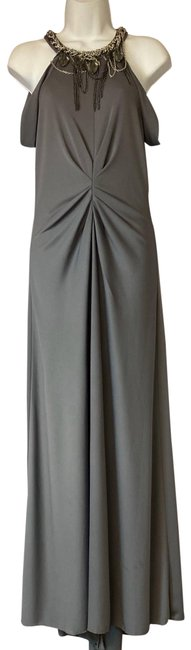 Item - Gray Embellished Neck Poly Night Out Long Cocktail Dress Size 6 (S)