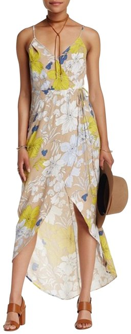 ASTR Tan/Yellow Donna Floral Pattern High Long Casual Maxi Dress Size 0 (XS) ASTR Tan/Yellow Donna Floral Pattern High Long Casual Maxi Dress Size 0 (XS) Image 1