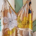 ASTR Tan/Yellow Donna Floral Pattern High Long Casual Maxi Dress Size 0 (XS) ASTR Tan/Yellow Donna Floral Pattern High Long Casual Maxi Dress Size 0 (XS) Image 2