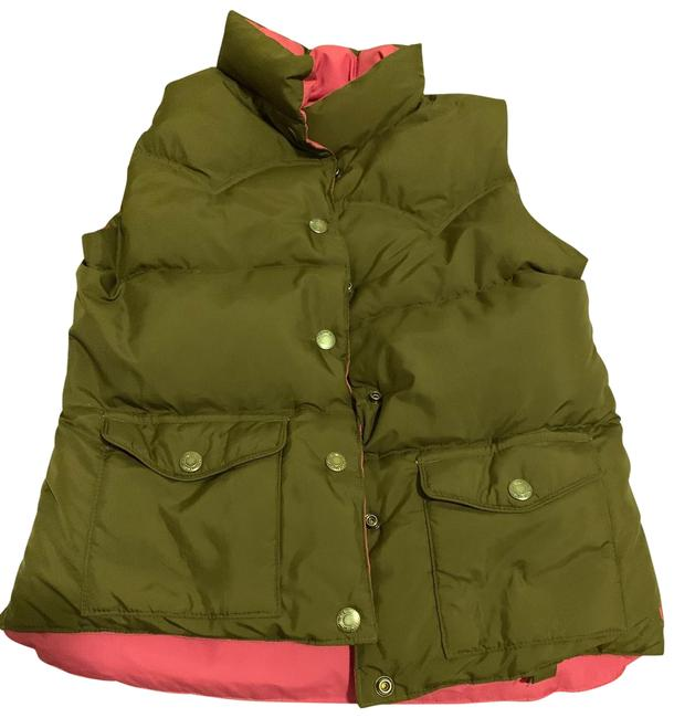 Item - Brown & Pink Reversible Puffer Vest Size 6 (S)