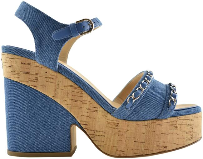 Item - Blue 19s Denim Cork Silver Chain Cc Logo Platform Sandal Heel Pump Wedges Size EU 40 (Approx. US 10) Regular (M, B)