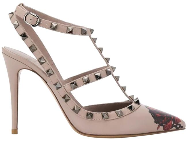 Item - Nude Rockstud Undercover Leather Chain Red Rose Strap Pointed Heel Pumps Size EU 39 (Approx. US 9) Regular (M, B)