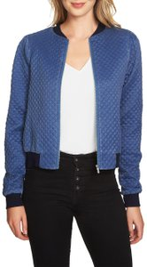 1.STATE Monochrome Longsleeve Jacquard Quilted Blue Jacket